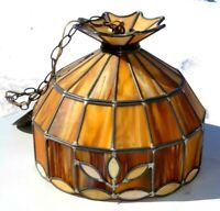 Antique 1930s Leaded Stained BUTTERSCOTCH Slag Art Glass Hanging Lamp Shade