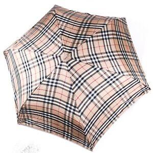 Burberry - Rare Vintage Plaid Umbrella Signature Tan Beige w Silver Handle