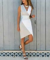 AQE Fashion V-Neck Sleeveless Color Block Asymmetrical Surplice Dress (Gray, XL)