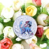 1PC año del perro de plata 2018 aniversario chino monedas regalo de turismoG2
