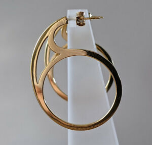 Sterling Silver & 18ct Yellow Gold Contemporary Large Hoop Earrings Hallmarked