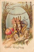 Gold Easter Postcard Bunny Rabbits Driving Automobile Colored Eggs~126363