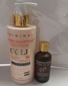 PURE EGYPTIAN GOLD MAGIC WHITENING FACE & BODY MILK AND SERUM.