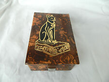 "Egyptian Camel Leather Jewelry Box Pharaoh Brown Cat Bastet 5.5"" X 3.75"""