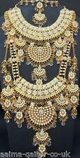 Indiano Stile Nuziale Gioielli 8 Pezzi Set placcato oro pietre chiare NUOVO aq-004