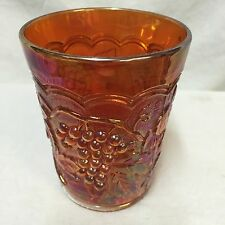 Imperial Carnival Glass Grape Pattern #473 Marigold Water Cup Tumbler Iridescent