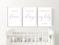 Grey Nursery Prints Pictures, Wall Art Baby Bedroom Decor, Boys Girls Set