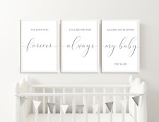 Grey Nursery Prints Pictures, Wall Art Baby Bedroom Decor, Boys Girls Set