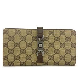GUCCI Jackie GG Logo Beige Canvas Leather Long Bifold Wallet /B0155