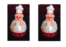 2x One Hour Novelty Shaped Kitchen Timer Clockwork Red White Chef Kitchenware