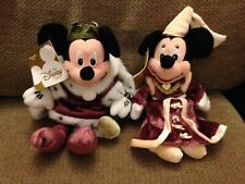 "Disney store King Arthur Mickey and Guinevere Minnie 8"" Plush retired beanie NWT"