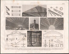 1870 Gravure originale construction architecture toit dôme gare ferroviaire hall