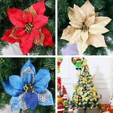 1 Glitter Christmas Tree Decorations Poinsettias Gold Blue Red Xmas Flower