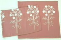 CAFE CURTAIN SET - 2PC. - EMBROIDERED DESIGN - XWIDE PANELS - DEEP MAUVE