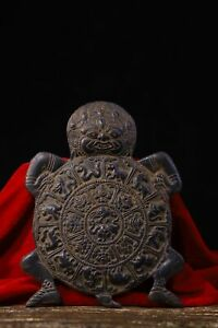 old Tibet Buddhism Copper body Carving Nine palaces Eight trigrams Buddha card