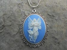 ANGEL WITH BUTTERFLY WINGS CAMEO NECKLACE!! CHRISTMAS-.925 SILV. PLATED CHAIN!!!