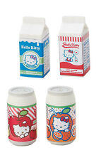 Sanrio Hello Kitty Parody Milk Box Apple Orange Juice 4pc Complete Set Erasers