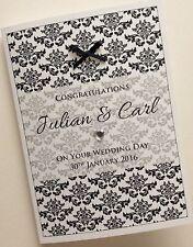 Fatto a mano personalizzato Bianco e Nero Black & White Wedding Day Congratulazioni Card