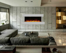 Wall Mounted LED Electric Fire Place With Pebbles Modern Home Decor Realistic