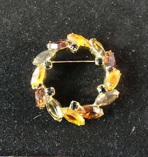Beautiful OLD Brooch / Pin - Circular with Autumn Color Gemstones -