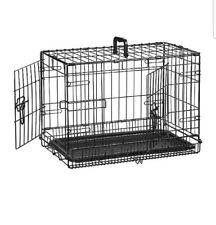 """Amazon Basics 21"""" Double-Door Folding Metal Dog or Pet Crate Kennel with Tray"""