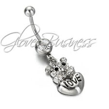 316L Steel Love Heart Bear Rhinestone Dangle Sexy Navel Belly Button Ring Bar