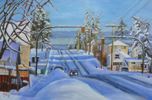 Winter Shadows,  24 x 36, Oil on Canvas, Darlene Young Canadian Artist