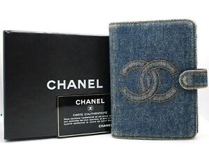 AUTHENTIC CHANEL CC LOGO DENIM AGENDA DAY PLANNER COVER BLUE LEATHER