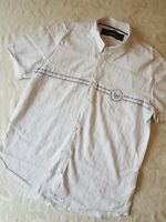 Duck And Cover Mens White Short Sleeve Shirt Blue Pinstripe Size M