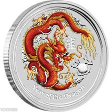Perth Mint Australia 2012 Dragon Red Colored 1 oz .999 Silver Coin