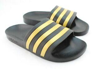New ADIDAS Adilette Aqua Size 8 Black / Gold Logo Men's Slide Sandals