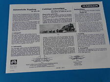 Marklin Automatic Couplngs Replica Directions Leaflet 1052 of 1952