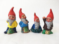 Vintage Small Plastic Gnome Elf Dwarf W. Germany #904 Figurines Set Of Four