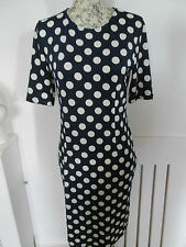 Elfin - Navy Blue/White Spotted Short Sleeved MINI DRESS SIZE M 100%Viscose