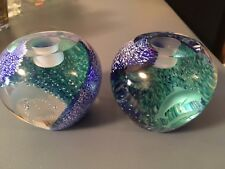 Lenox Dolphin Candle Holders Blue Green Cutglass