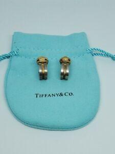 Vintage 18k Gold Sterling Silver 925 Tiffany & Co. Two Tone Huggie 1995 Earrings