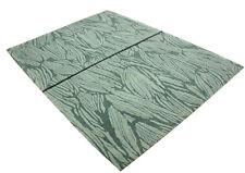 Tapis d'origine Nepal Tibet très bien avec SOIE ~178x240 cm ~ 100% laine vert