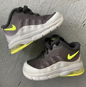 Nike Air Max Invigor Boys Shoes Sneakers 749574-002 Black Grey Lime Green Sze 2C