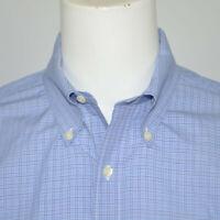 BROOKS BROTHERS Slim Fit Non Iron Cotton Dress Shirt Sz 17 34/35 Blue Plaid