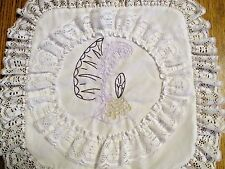 """VTG.HAND DESIGND PILLOW SHAM/EMBROIDERED VICTORIAN LADY W/BIG HAT~LACE EDGE 13"""""""