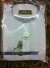 Shalwar Kameez Mens Al-Qaiser Plain Band Collar White Sizes XL, L, M, S, XS