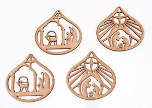 Christmas Decor Wooden MDF Shape - Nativity Baubles - 4 items set - 120 mm high