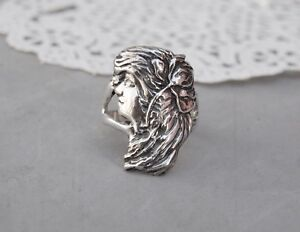 Art Nouveau Lady Woman Head Ring Sterling Silver Size 9 Cast Flower in Hair 10gr
