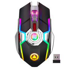 Gaming Mouse Rechargeable Wireless, Silent 1600 DPI Ergonomic 7 Keys RGB LED
