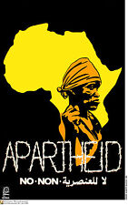 Cuban OSPAAAL POSTER.NO to APARTHEID.African Revolution Africa History art. 62