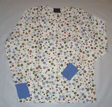 NEW Scrubs ~ Print Scrub Warm Up Jacket ~ Large ~ Wind Flowers
