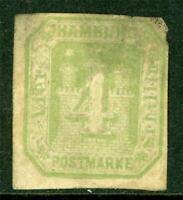 Germany 1866 Hamburg 4 Shilling Cut Square Mint  I315 ⭐⭐⭐⭐⭐⭐