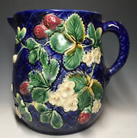 Antique English 19th C. Majolica Strawberry Basket Weave Pitcher Art Pottery