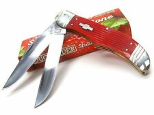 Couteau de Chasse Pliant Rough Rider Strawberry 2 Lames 440 Manche Os RR1501