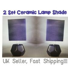 2x Geometric CERAMIC Violet Fabric Shade BEDSIDE Table Lamp Decor KIDS BED ROOM